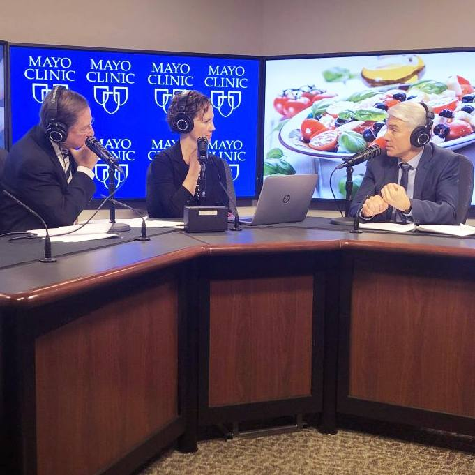 Dr. Donald Hensrud in the radio studio being interviewed by Dr. Shives and Tracy McCray