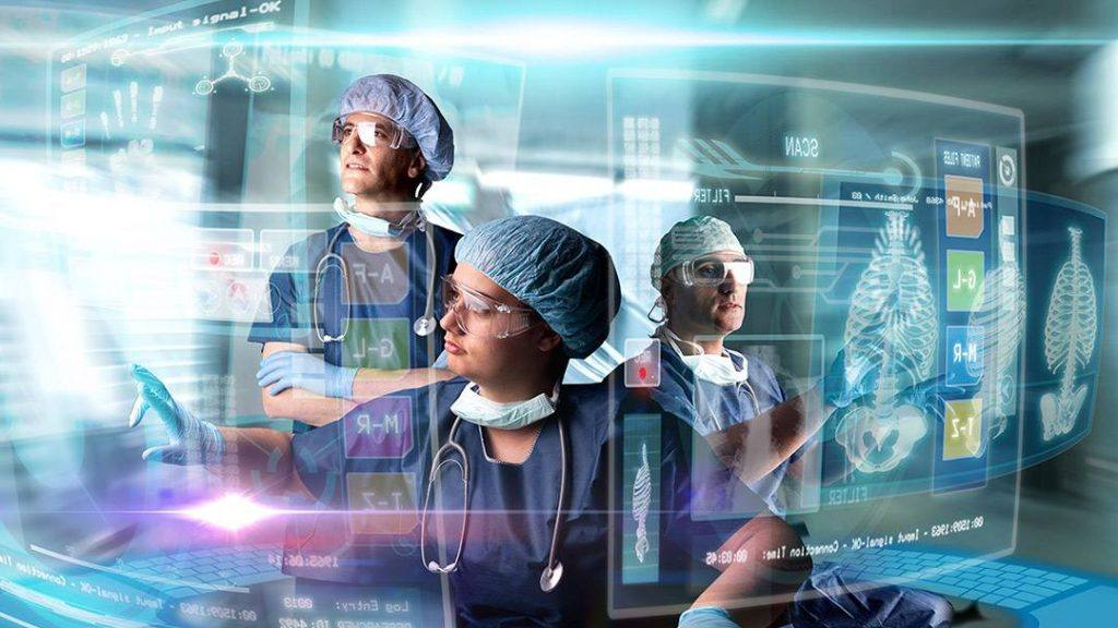 a futuristic image with medical staff researchers looking at data on radiology images on glass, representing artificial intelligence