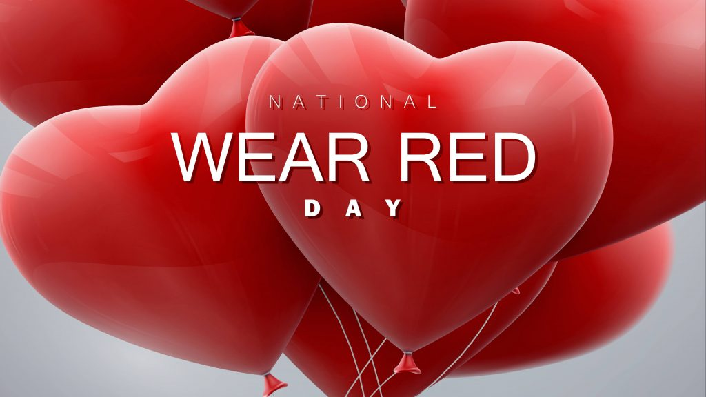 a group of red heart balloons with the words 'National Wear Red Day'