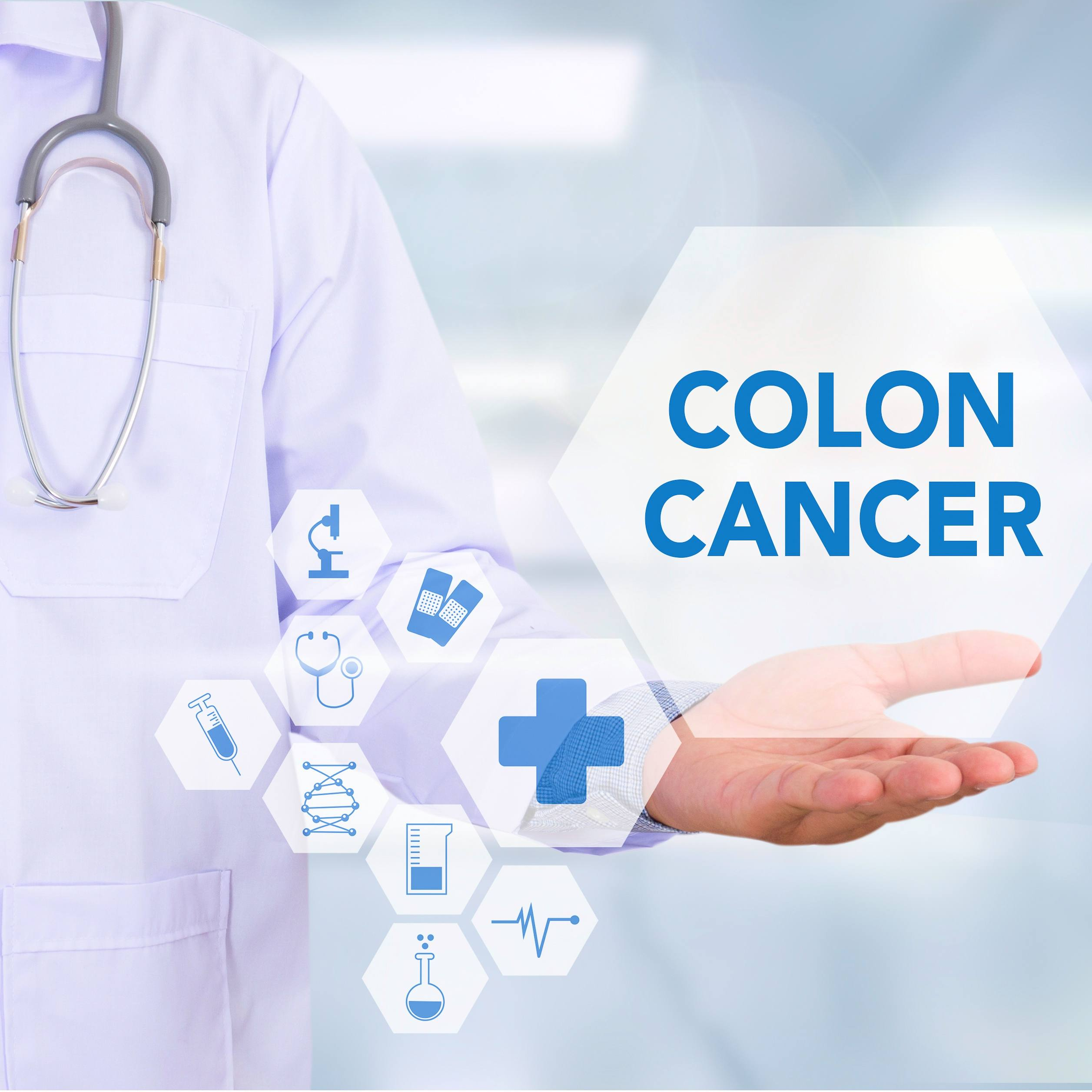 a medical staff person in a white lab coat holding a 3-D medical image graphic in his hand with the words colon cancer on the screen