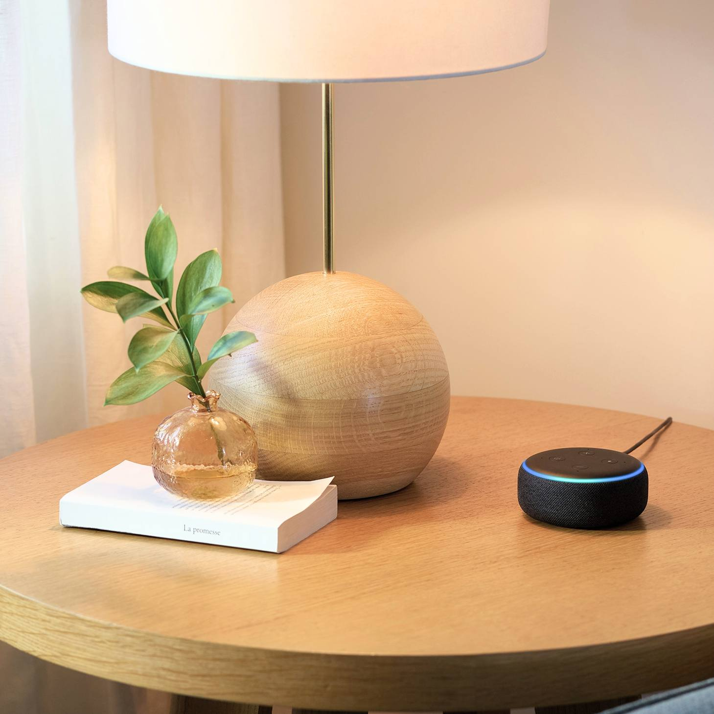 an Amazon Alexa Echo Dot placed on a side table with a lamp, a book and a green leafed sprig in a vase