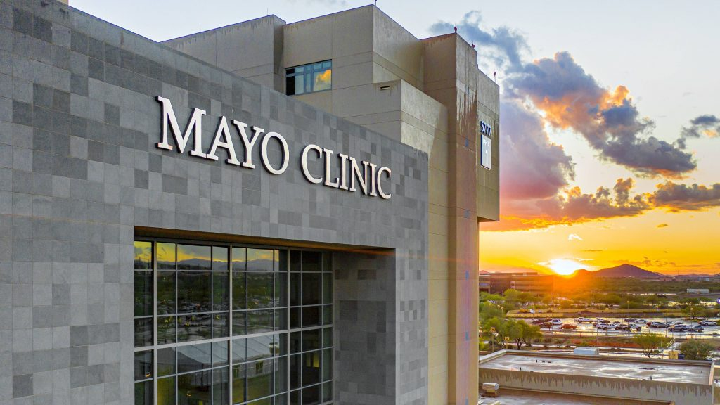 Mayo Clinic Arizona building with sunset or sunrise in the background