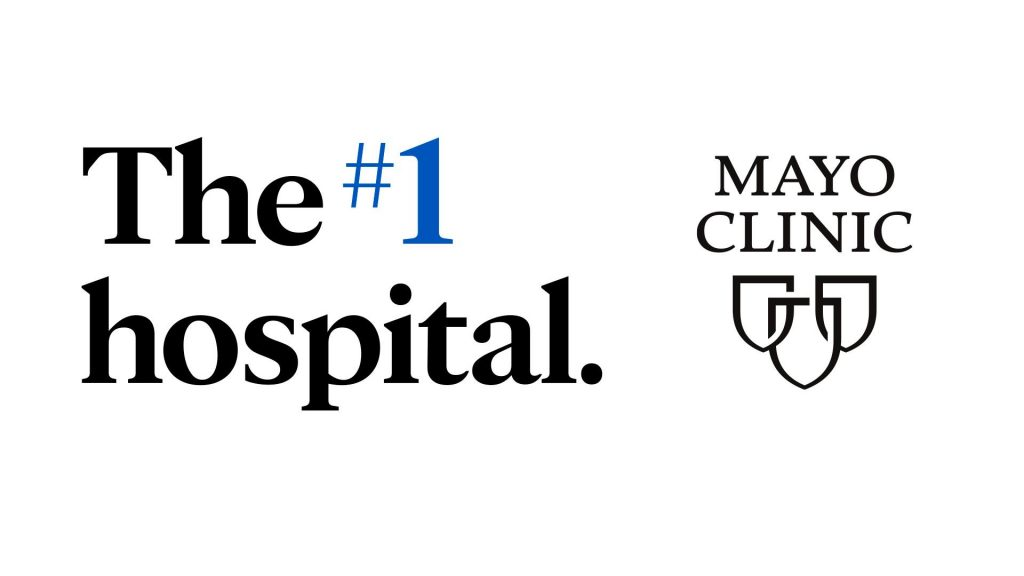 Graphic noting Mayo Clinic as the number 1 ranked hospital in the United States