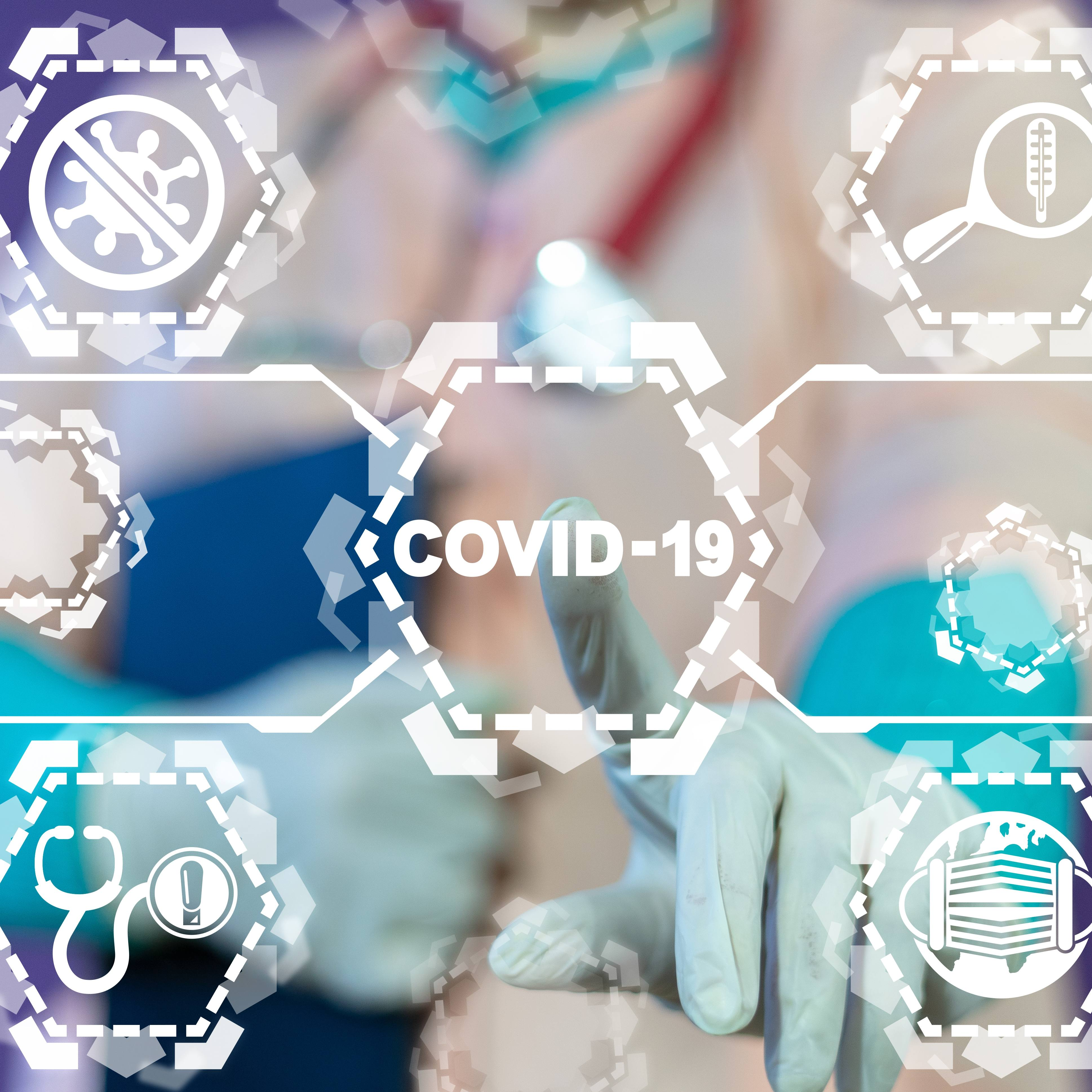 a word graphic with medical icons and COVID-19 written in the center and a hand with a medical glove pointing to the word