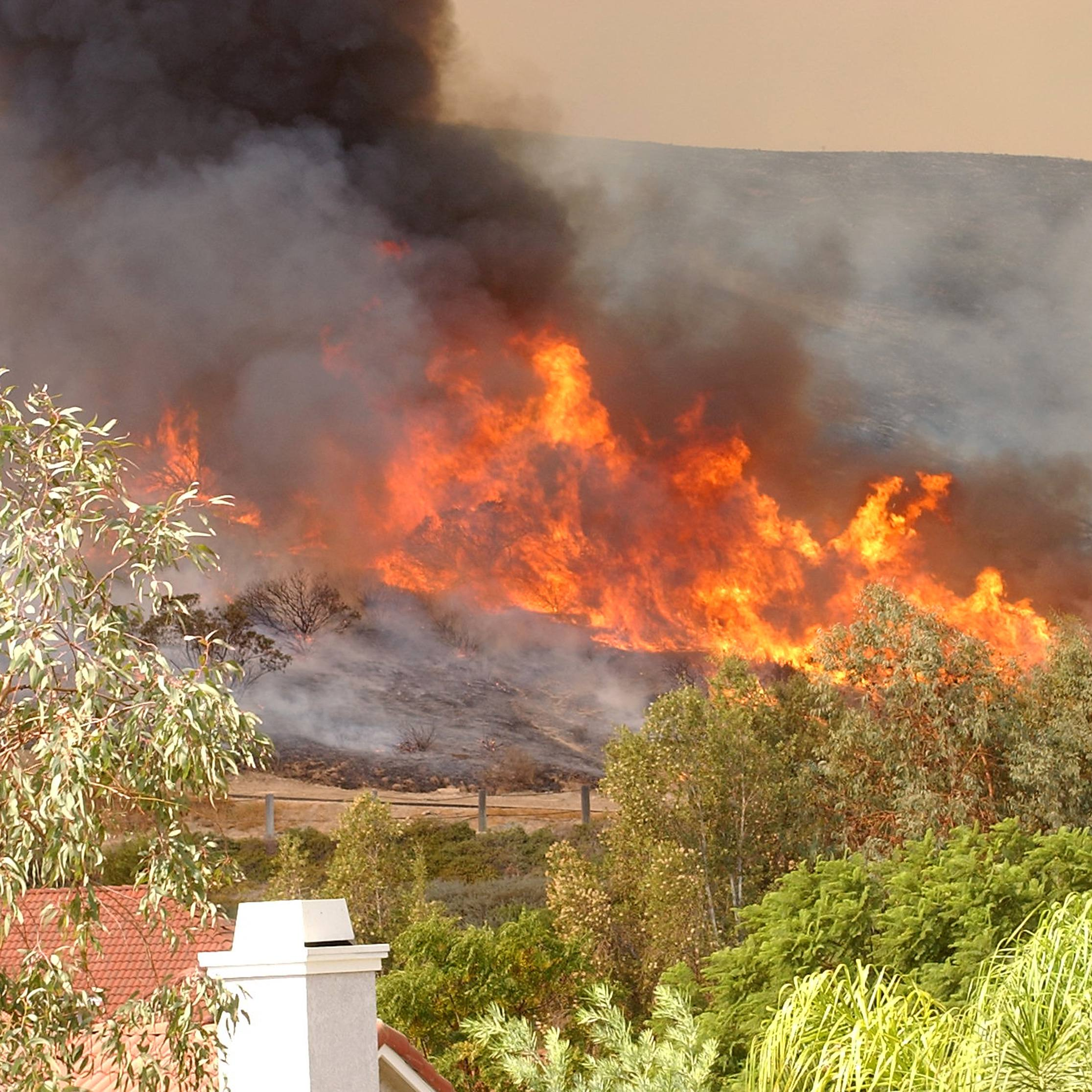 a California wild fire on a hillside near homes and trees, creating a lot of smoke