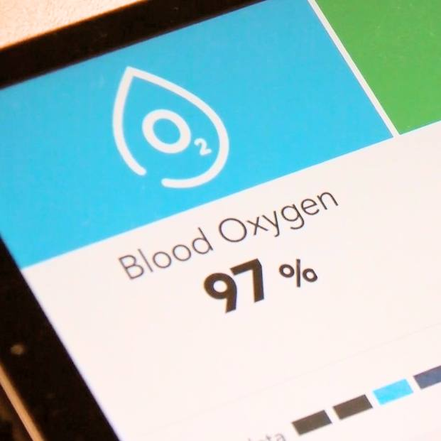 a close up of the screen for the monitoring tool that helps patients at home take their vital signs