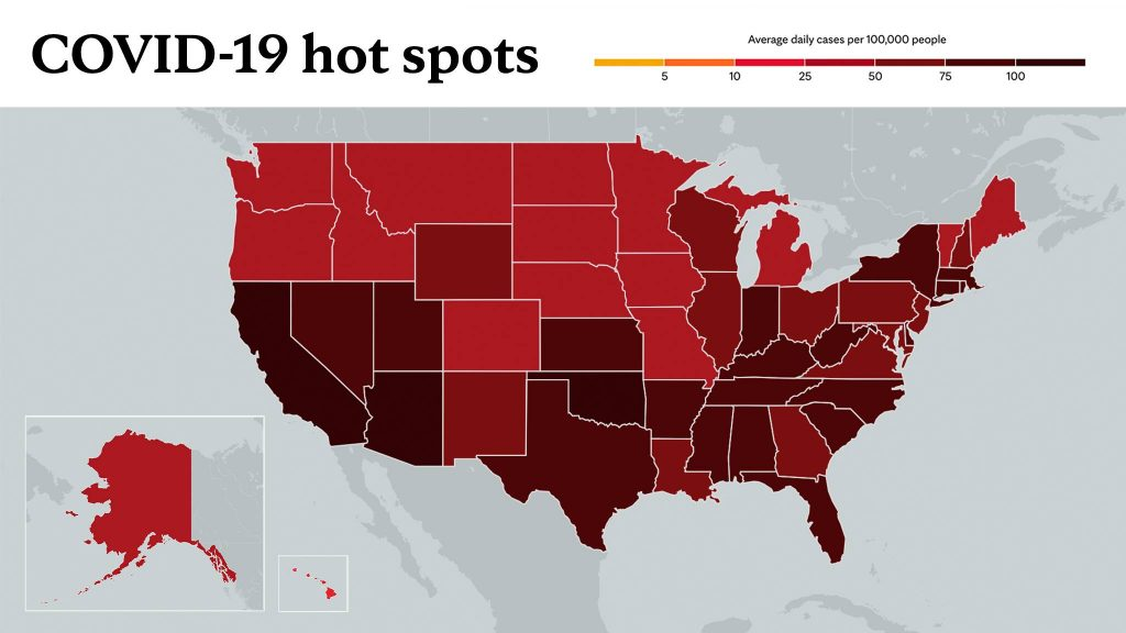 Jan. 14, 2021- Mayo Clinic COVID-19 trending map using red color tones for hot spots