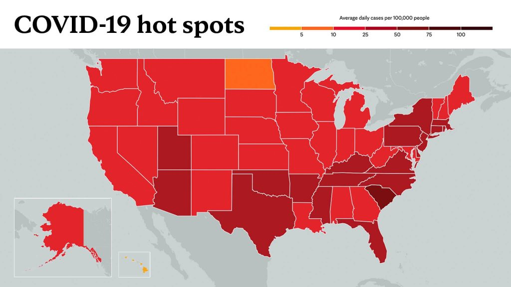 Feb. 18, 2021- Mayo Clinic COVID-19 trending map using red color tones for hot spots