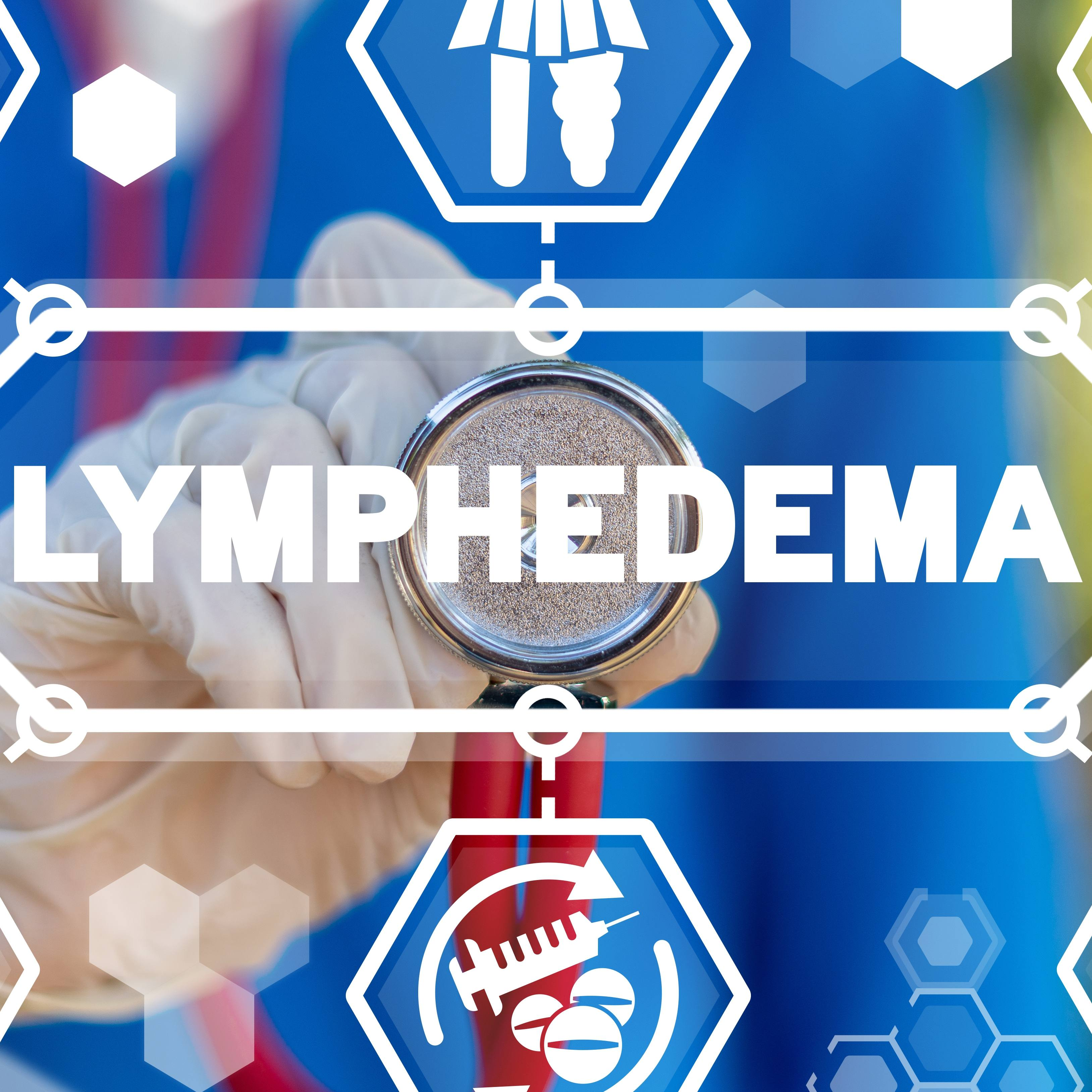 word graphic with medical icons and symbols surrounding the word LYMPHEDEMA