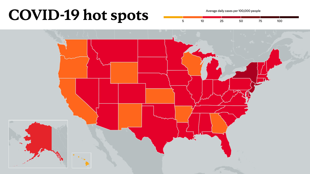 March 18, 2021- Mayo Clinic COVID-19 trending map using red color tones for hot spots