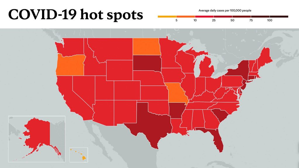 March 4, 2021- Mayo Clinic COVID-19 trending map using red color tones for hot spots