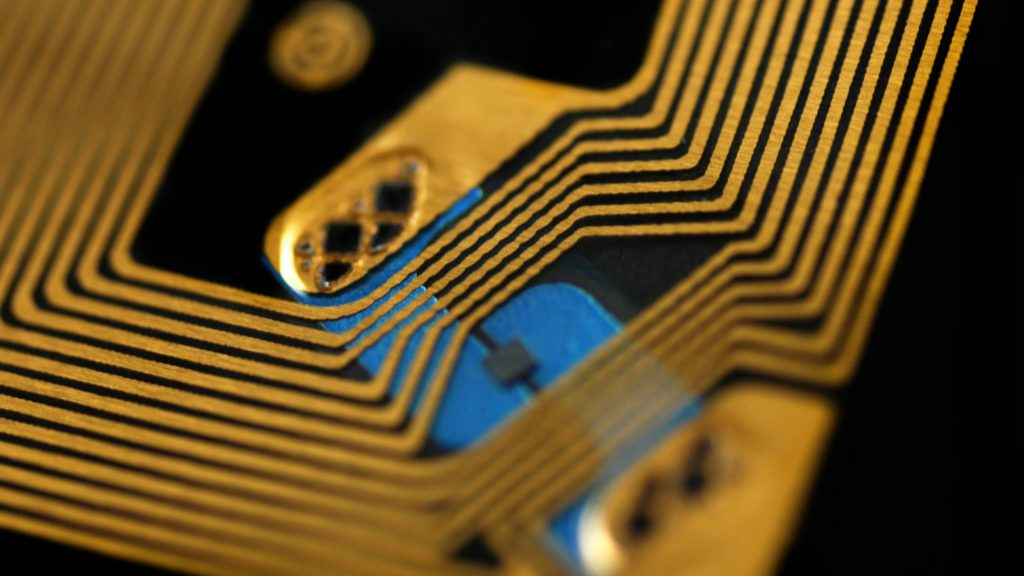 closeup of RFID tags used for tracking and identifying