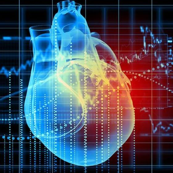 a futuristic 3D graphic image of a heart EKG, perhaps representing AI artificial intelligence