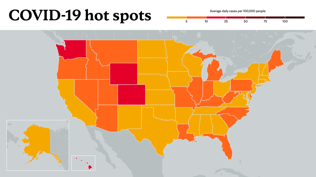 June 3, 2021- Mayo Clinic COVID-19 trending map using red color tones for hot spots