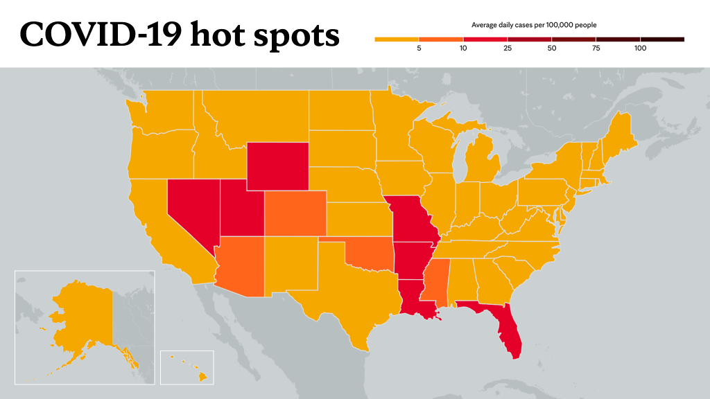 July 8, 2021- Mayo Clinic COVID-19 trending map using red color tones for hot spots