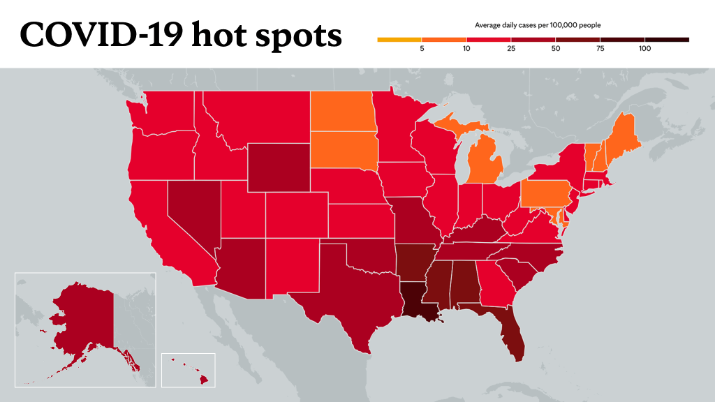 August 5, 2021- Mayo Clinic COVID-19 trending map using red color tones for hot spots