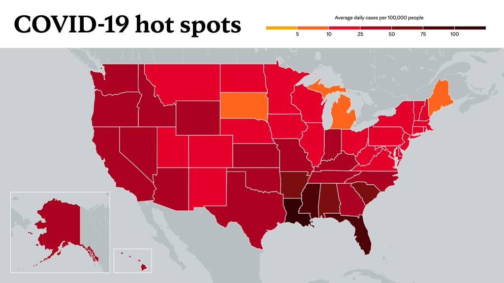 August 12, 2021- Mayo Clinic COVID-19 trending map using red color tones for hot spots