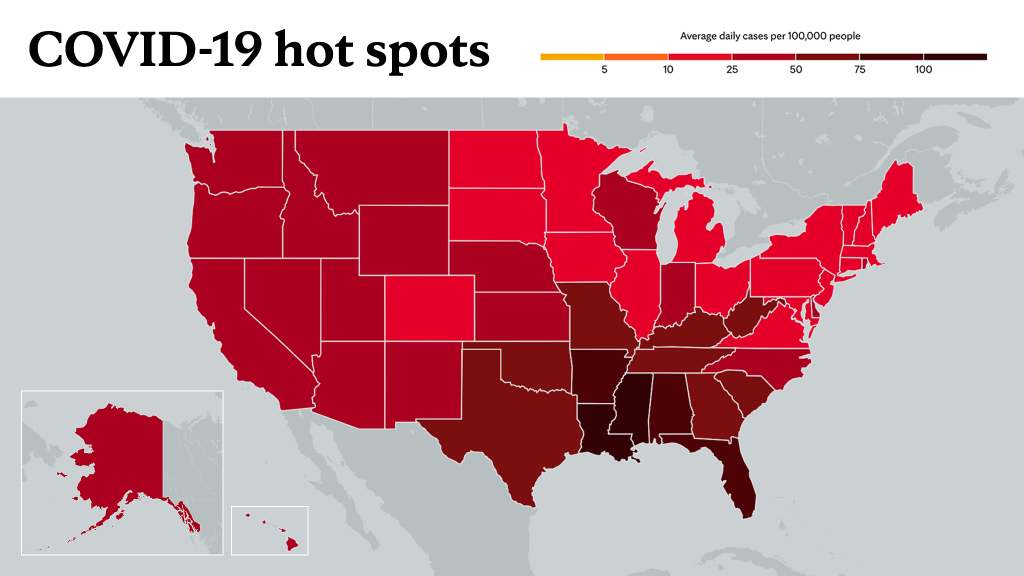 August 19, 2021- Mayo Clinic COVID-19 trending map using red color tones for hot spots