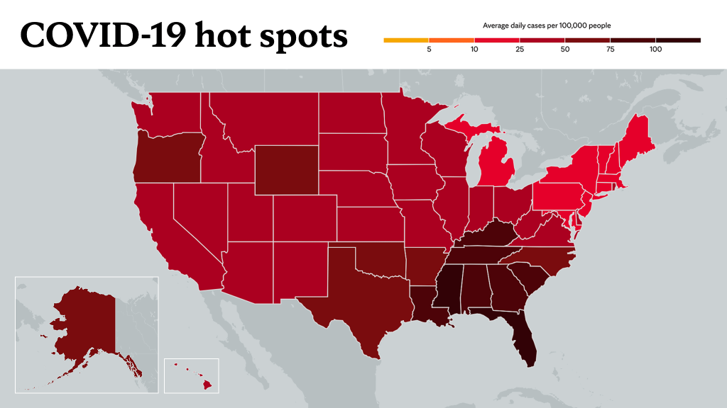August 26, 2021- Mayo Clinic COVID-19 trending map using red color tones for hot spots