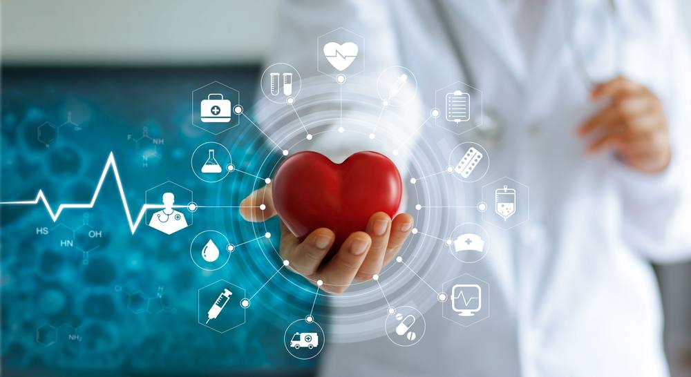 Medical person holding red heart model and futuristic icon medical network connection with virtual screen