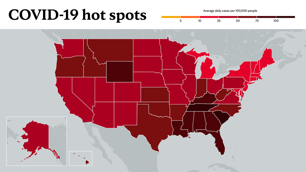 Sept. 3, 2021- Mayo Clinic COVID-19 trending map using red color tones for hot spots