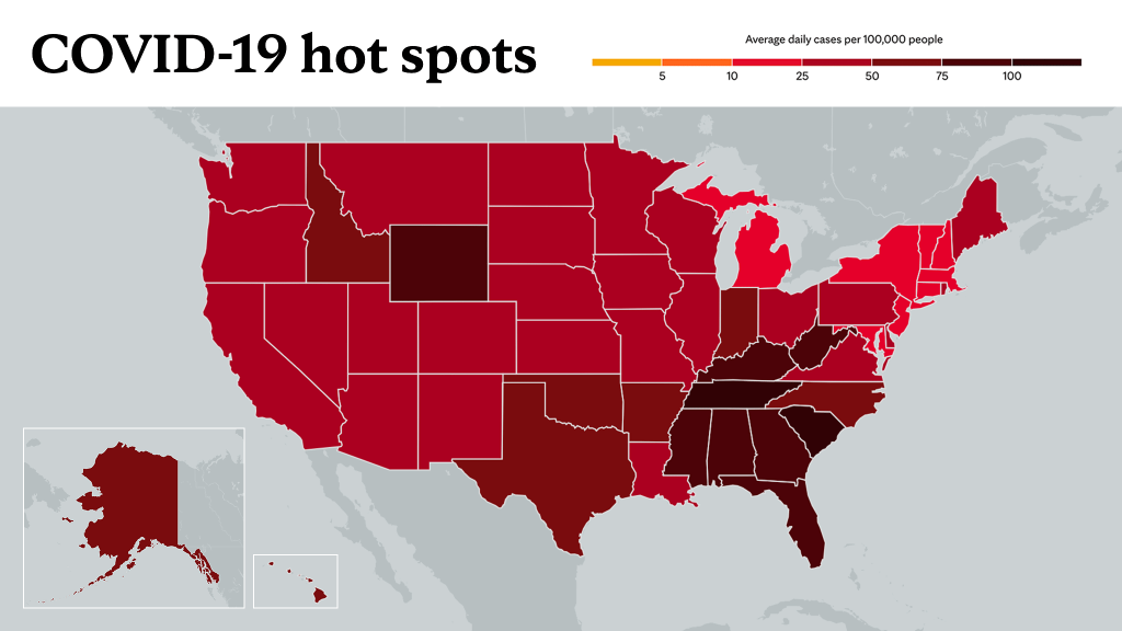 Sept. 10, 2021- Mayo Clinic COVID-19 trending map using red color tones for hot spots