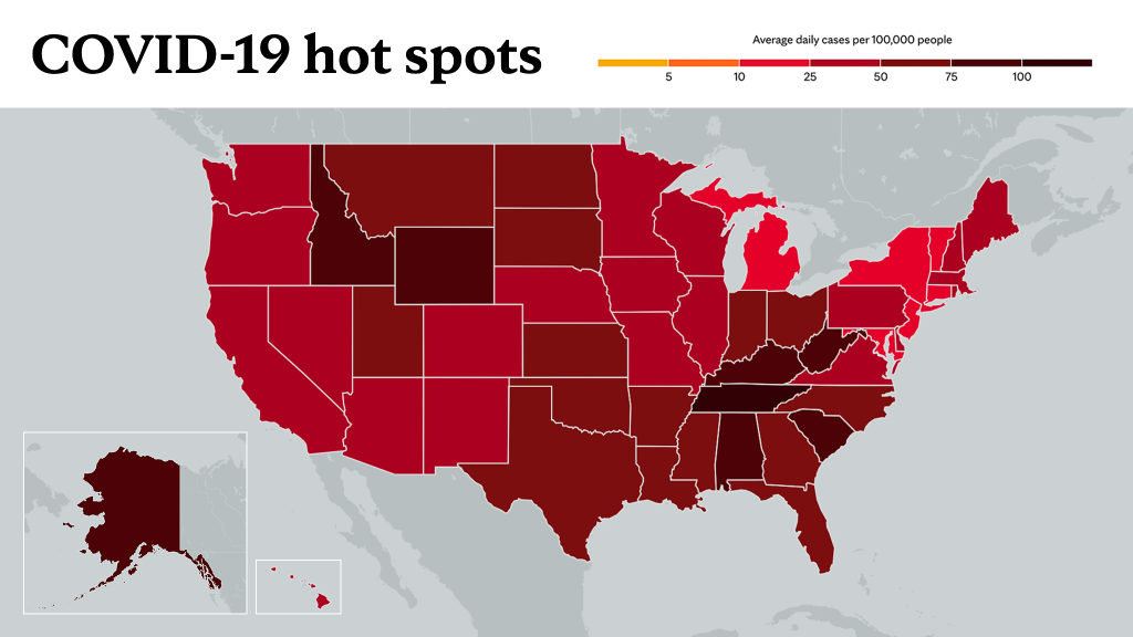 Sept. 16, 2021- Mayo Clinic COVID-19 trending map using red color tones for hot spots