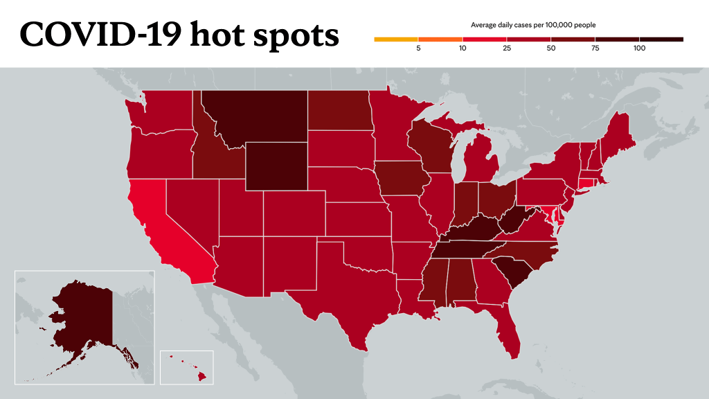 Sept. 23, 2021- Mayo Clinic COVID-19 trending map using red color tones for hot spots