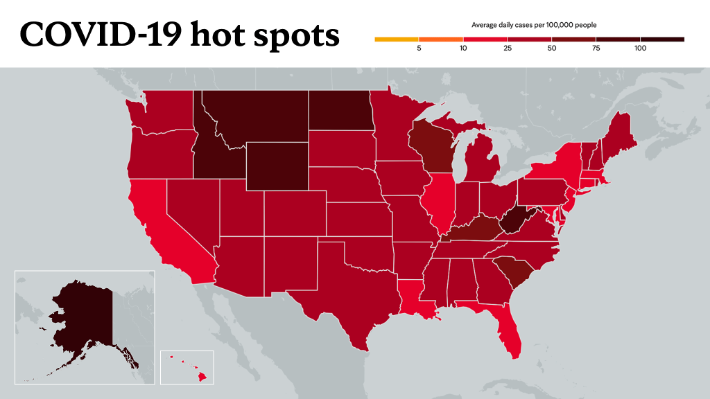 Oct. 4, 2021- Mayo Clinic COVID-19 trending map using red color tones for hot spots