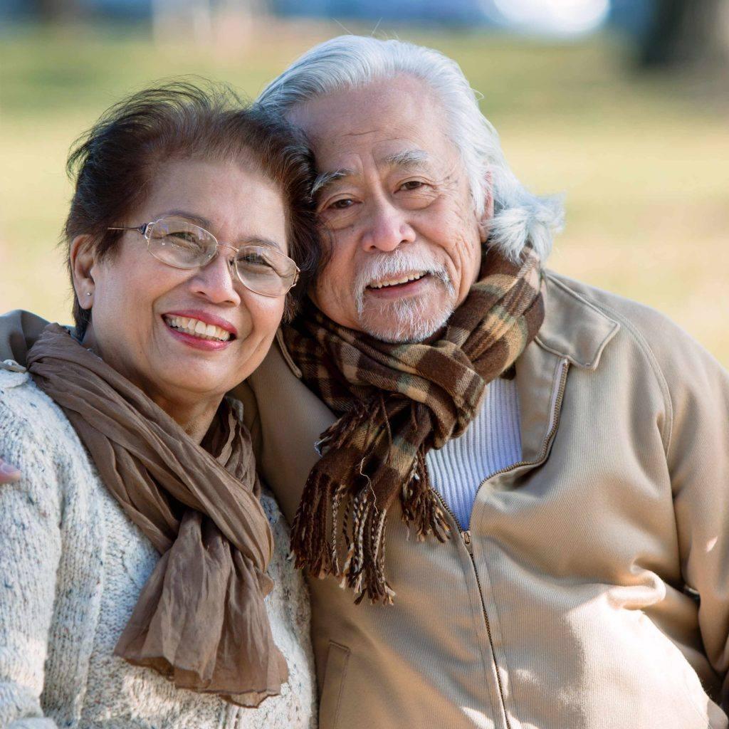 老年夫妇在公园的长椅上